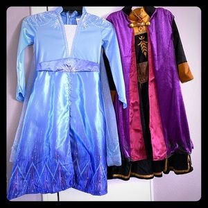 Elsa and Anna frozen 2 costumes and wigs